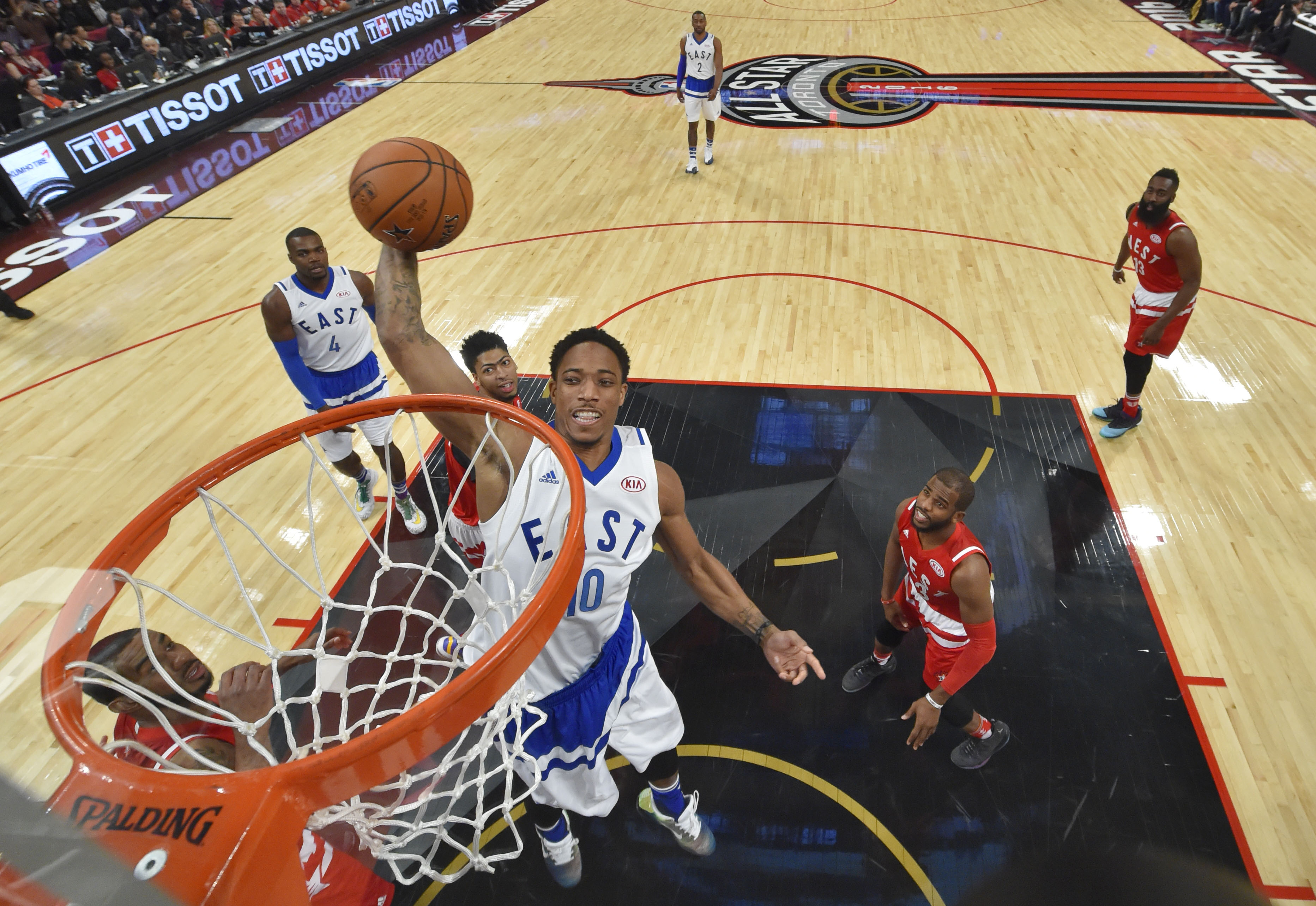 bd5c1008f40 Feb 14, 2016; Toronto, Ontario, CAN; Eastern Conference guard DeMar DeRozan  of the Toronto Raptors (10) goes up for a dunk during the NBA All Star Game  at ...